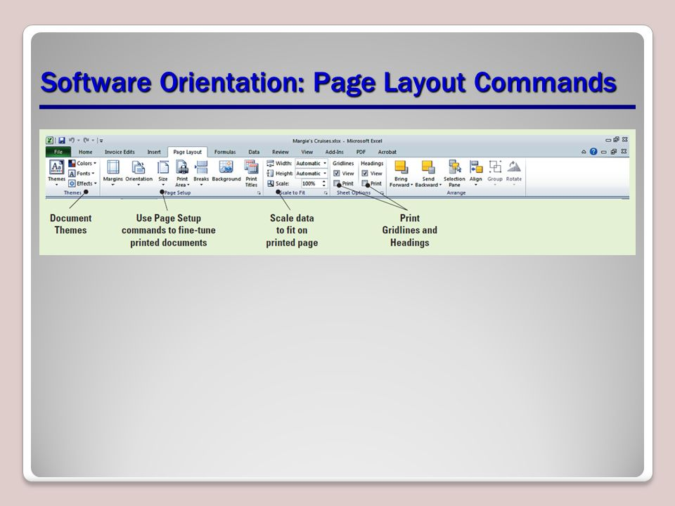 Software Orientation: Page Layout Commands