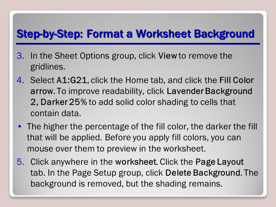 Step-by-Step: Format a Worksheet Background