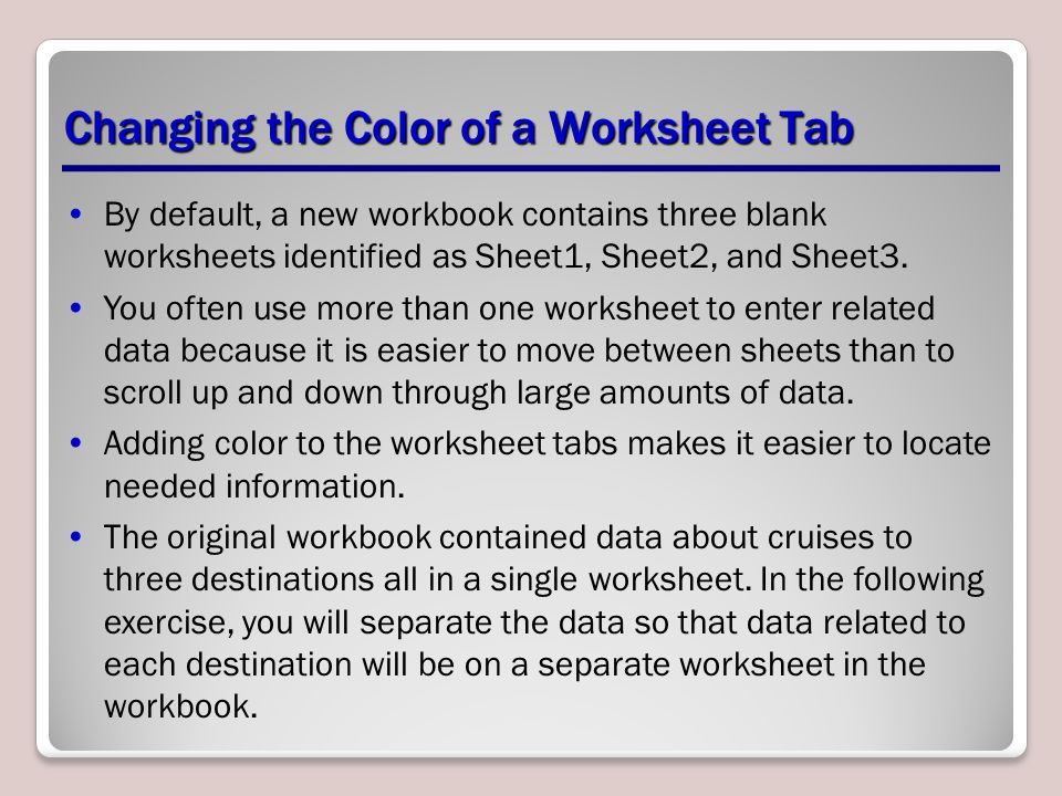 Changing the Color of a Worksheet Tab
