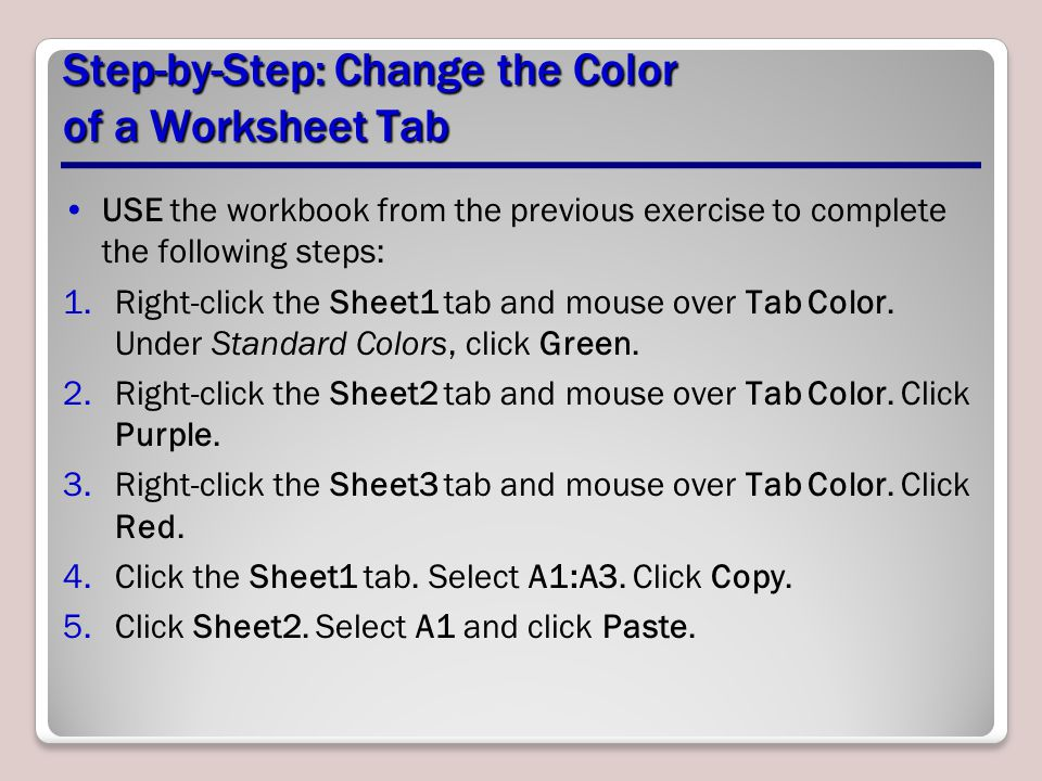 Step-by-Step: Change the Color of a Worksheet Tab