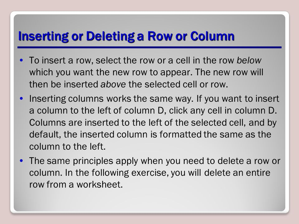 Inserting or Deleting a Row or Column
