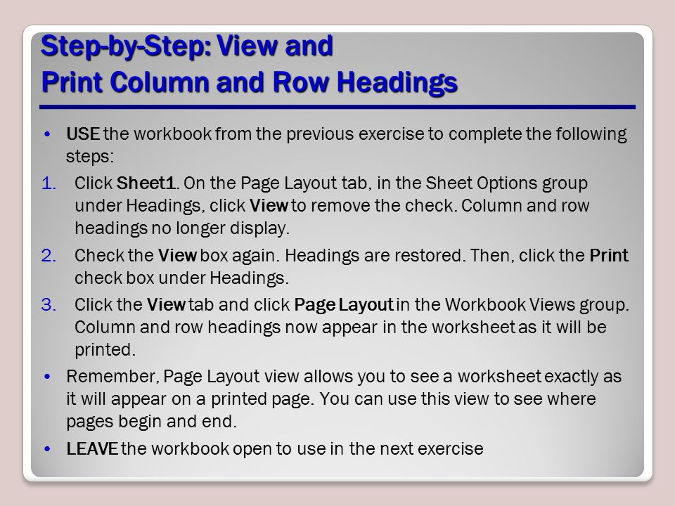 Step-by-Step: View and Print Column and Row Headings