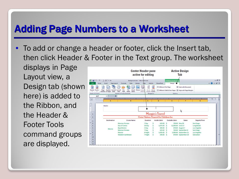 Adding Page Numbers to a Worksheet