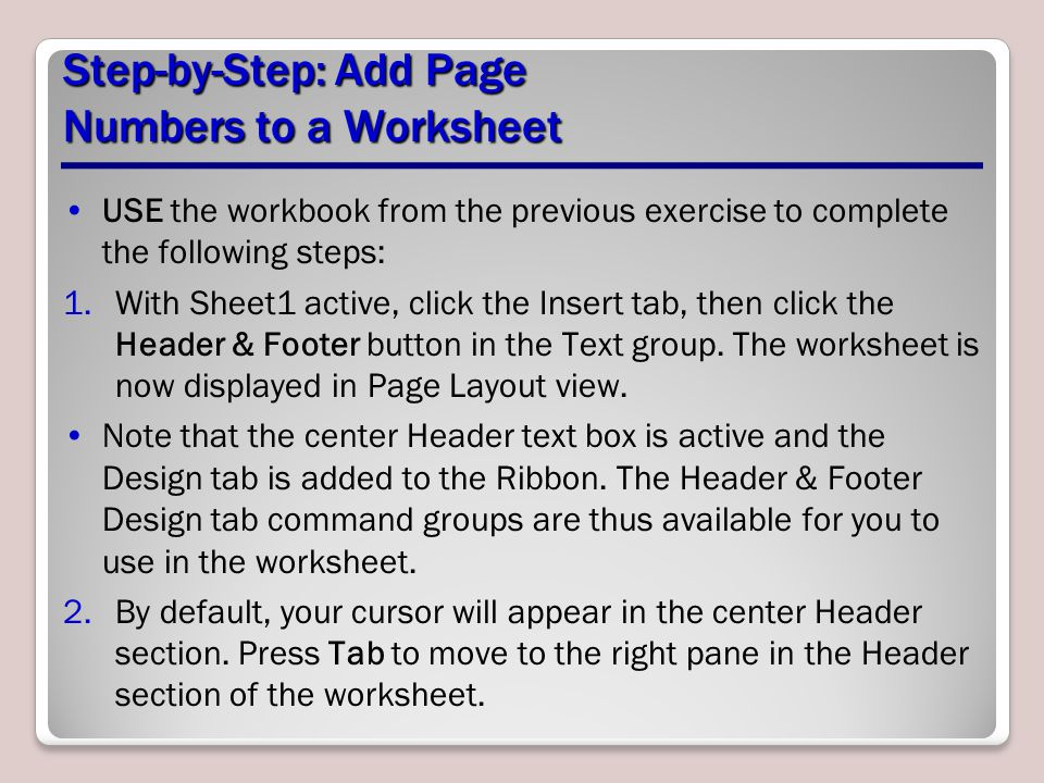 Step-by-Step: Add Page Numbers to a Worksheet