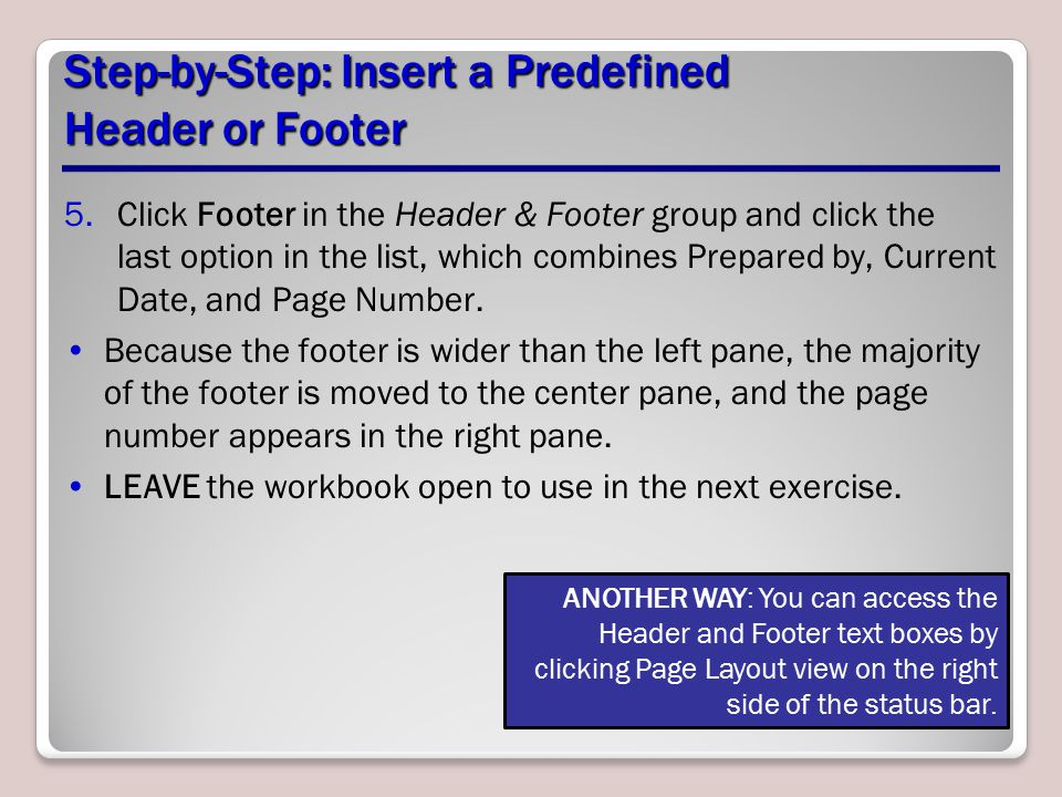 Step-by-Step: Insert a Predefined Header or Footer