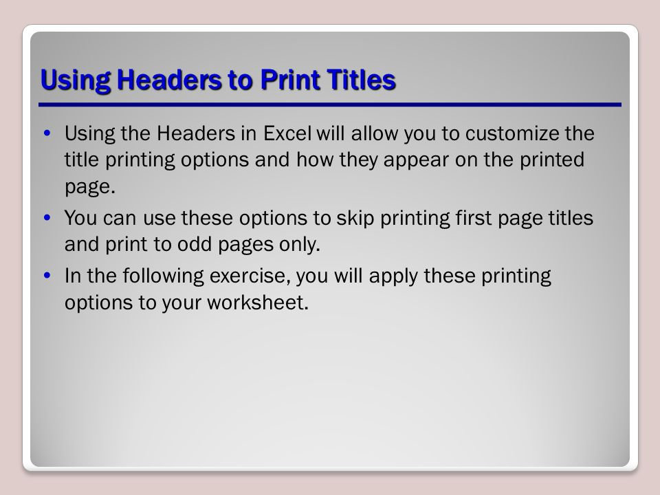 Using Headers to Print Titles