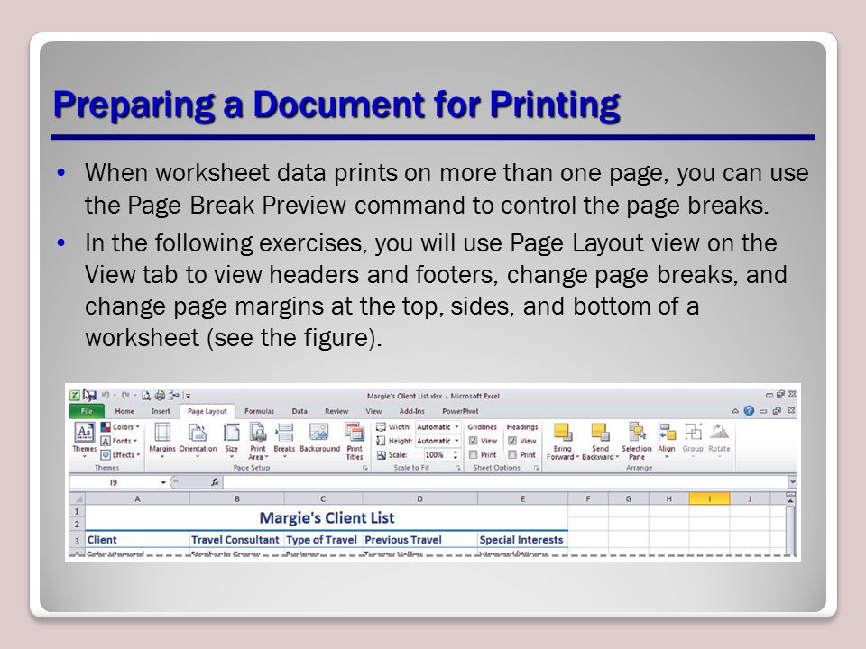 Preparing a Document for Printing
