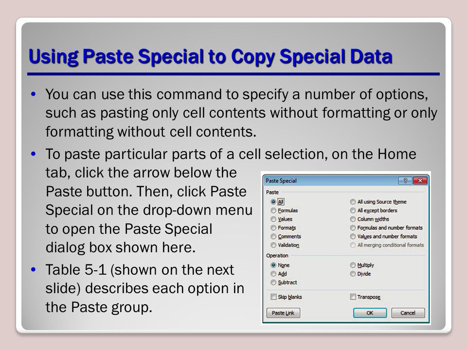 Using Paste Special to Copy Special Data