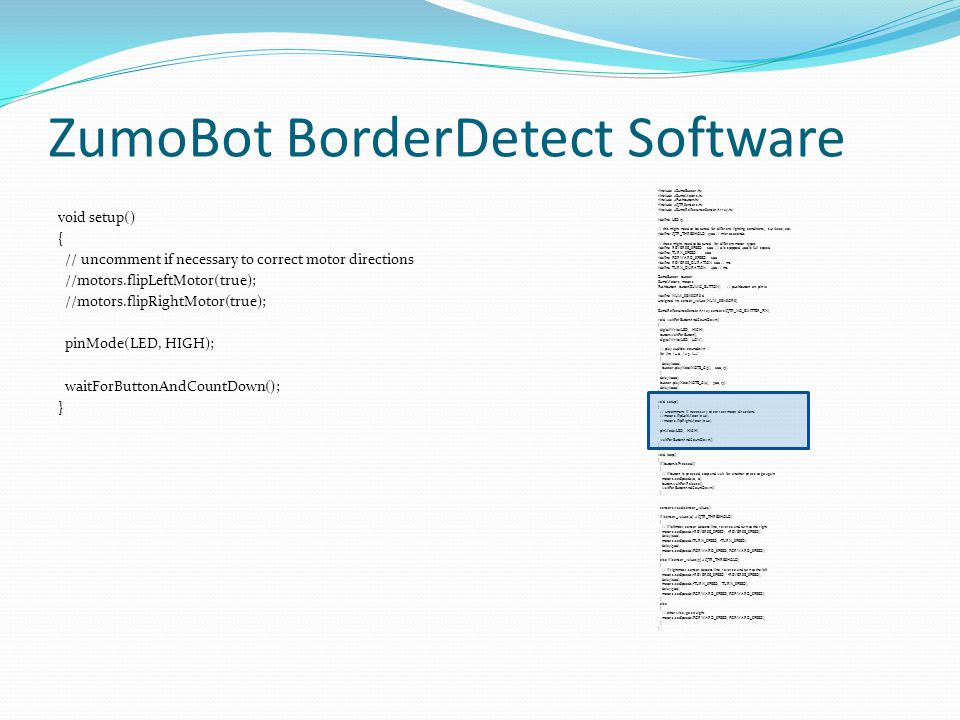 ZumoBot BorderDetect Software