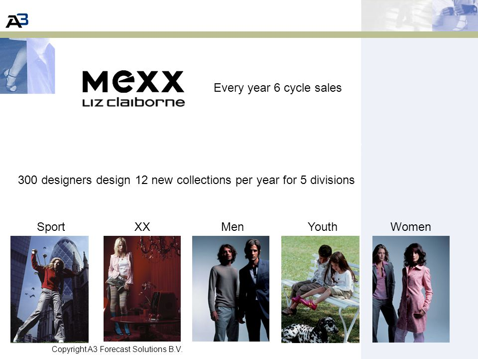 Every year 6 cycle sales 300 designers design 12 new collections per year for 5 divisions. Sport. XX.