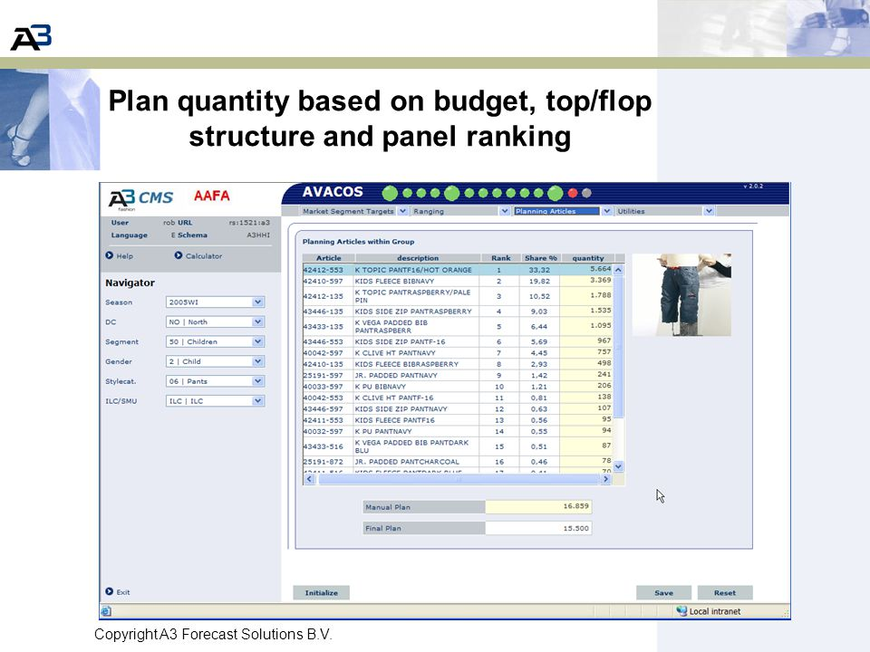 Plan quantity based on budget, top/flop structure and panel ranking