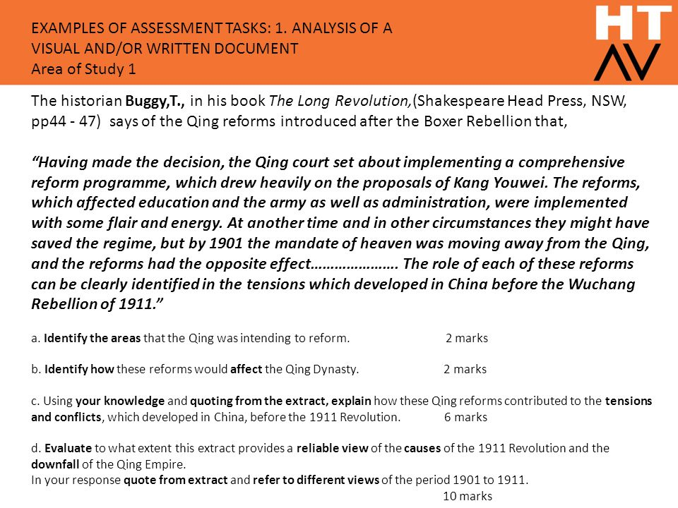 EXAMPLES OF ASSESSMENT TASKS: 1
