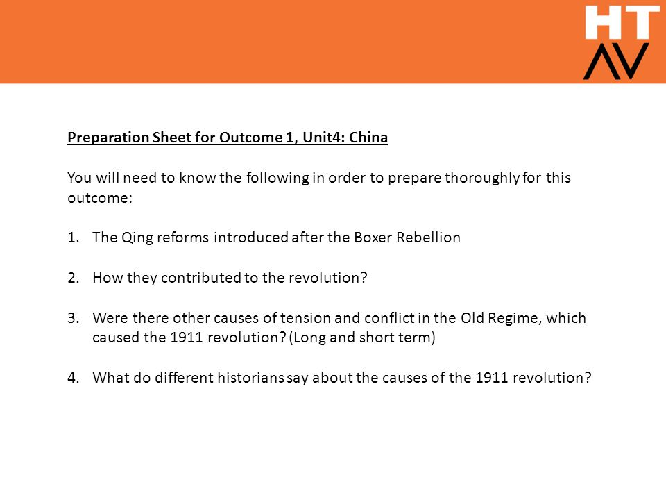 Preparation Sheet for Outcome 1, Unit4: China