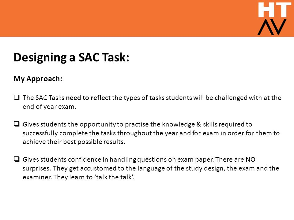 Designing a SAC Task: My Approach: