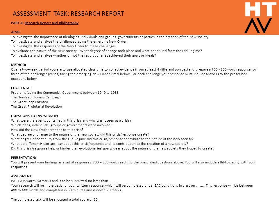 ASSESSMENT TASK: RESEARCH REPORT