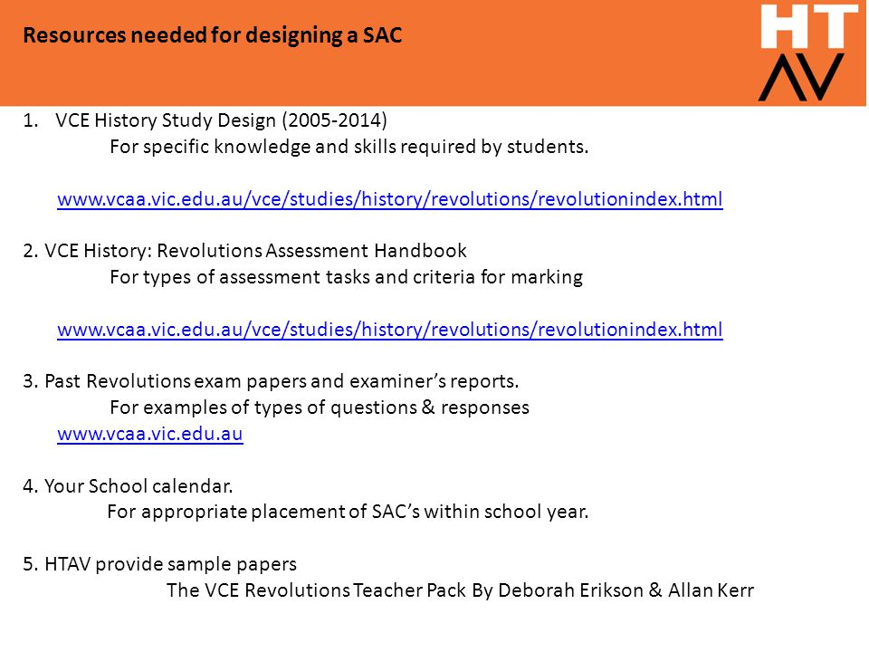 Resources needed for designing a SAC