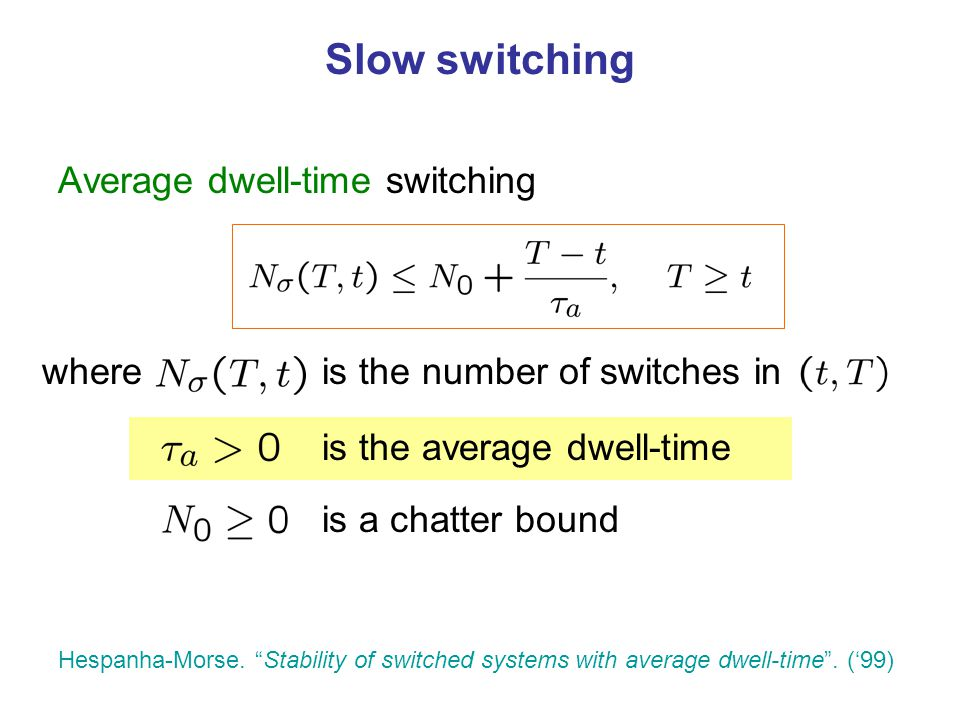 Slow switching Average dwell-time switching where