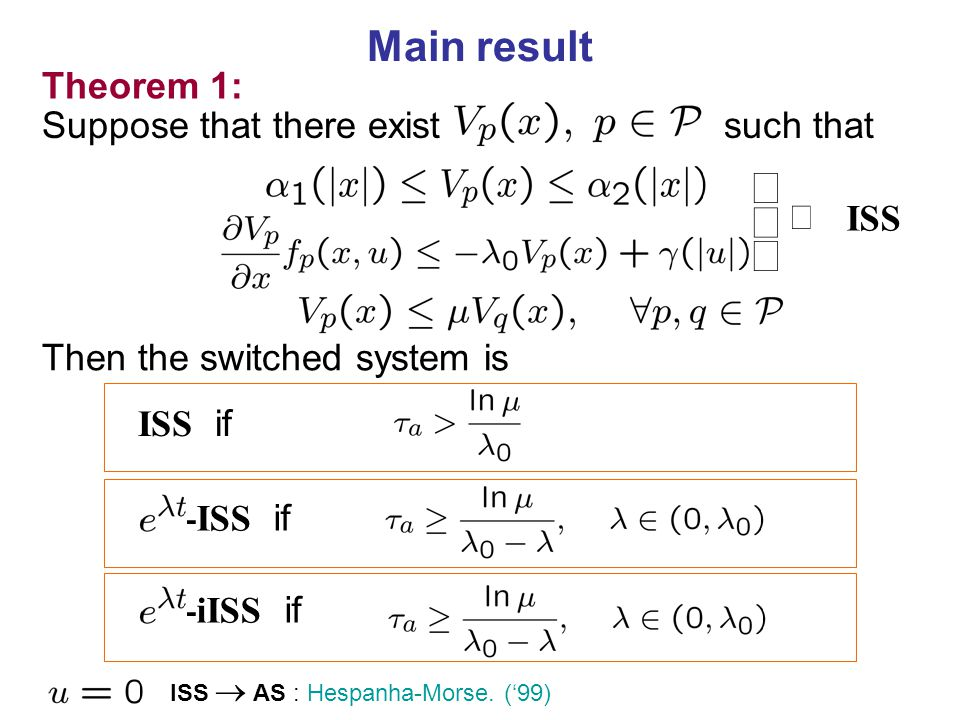 ü ý þ Main result Theorem 1: Suppose that there exist such that Û ISS