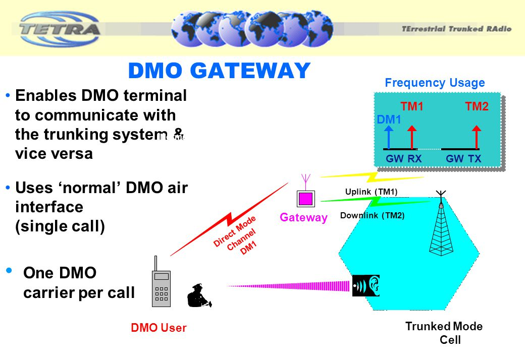 DMO GATEWAY Trunked Mode. Air Interface. GW RX. DM1. GW TX. TM1. TM2. Frequency Usage.