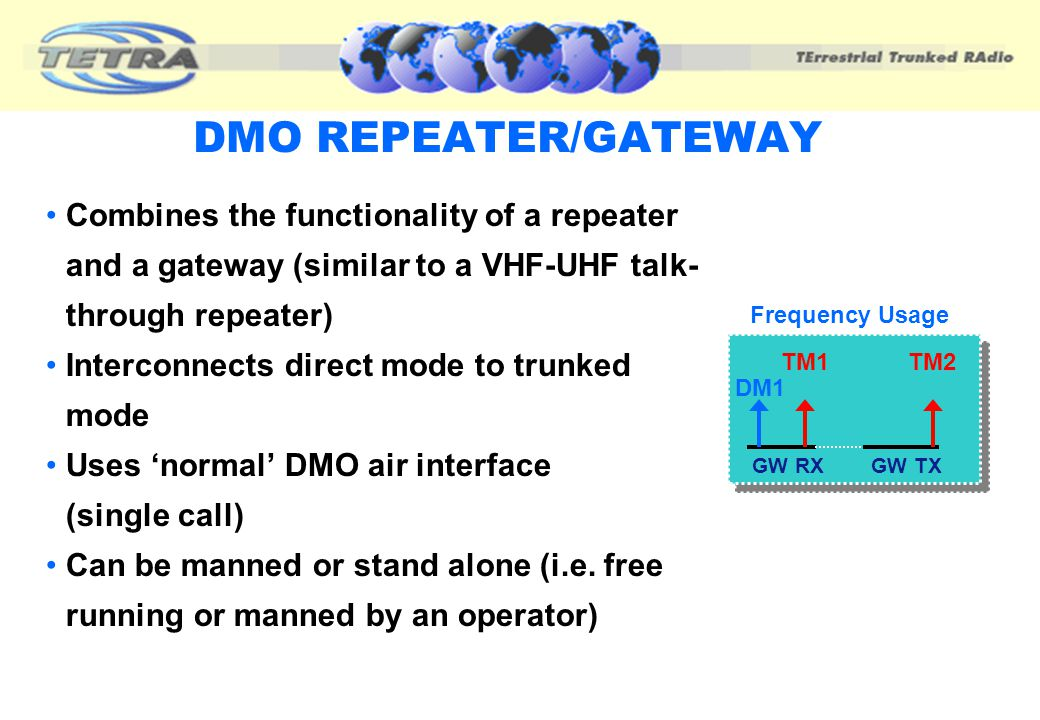 DMO REPEATER/GATEWAY Combines the functionality of a repeater and a gateway (similar to a VHF-UHF talk-through repeater)