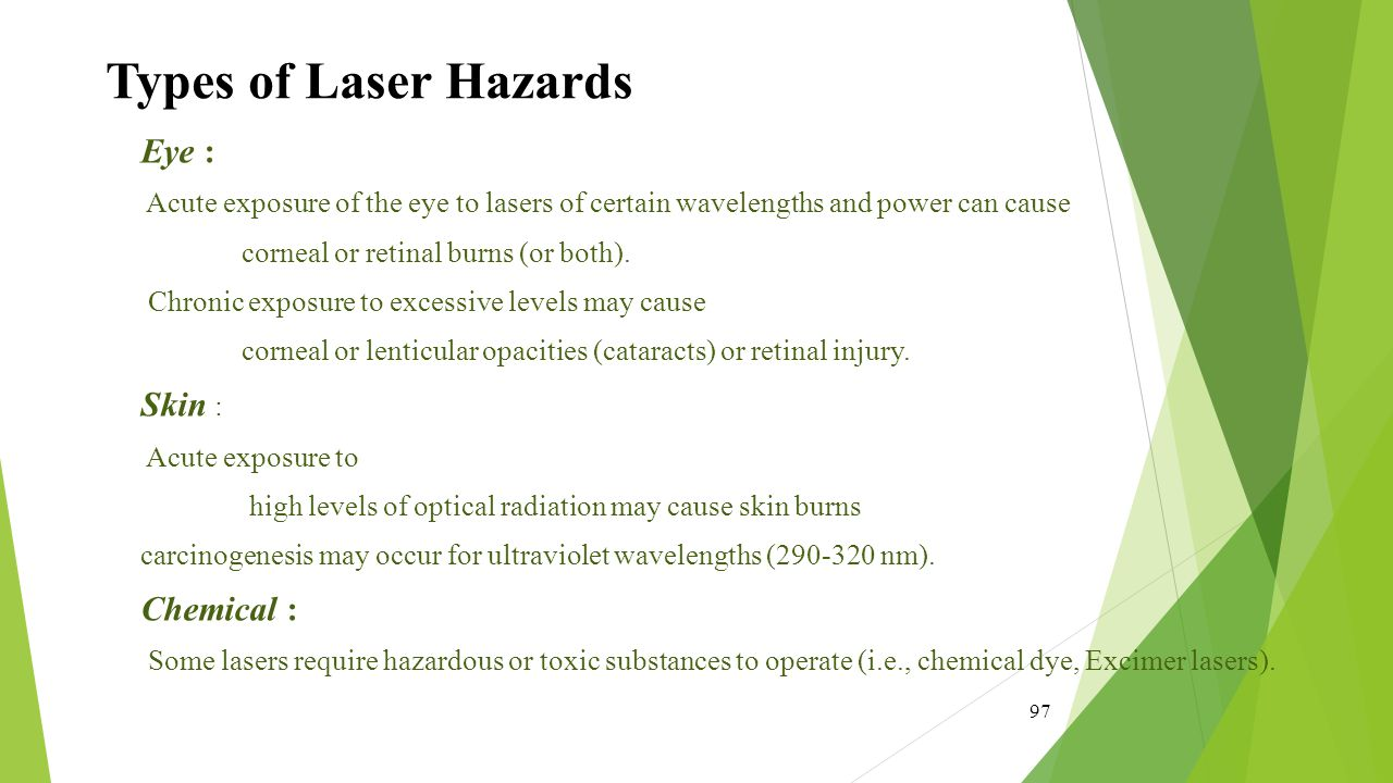 Types of Laser Hazards Eye : Skin : Chemical :