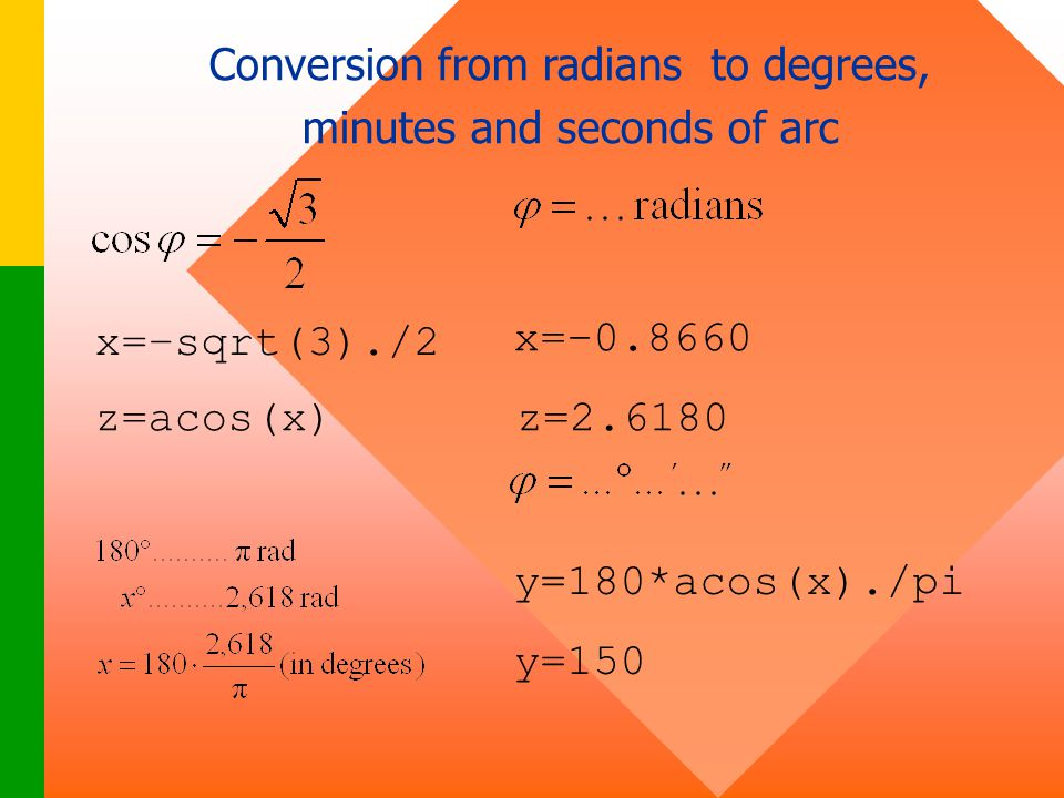 Conversion from radians to degrees, minutes and seconds of arc