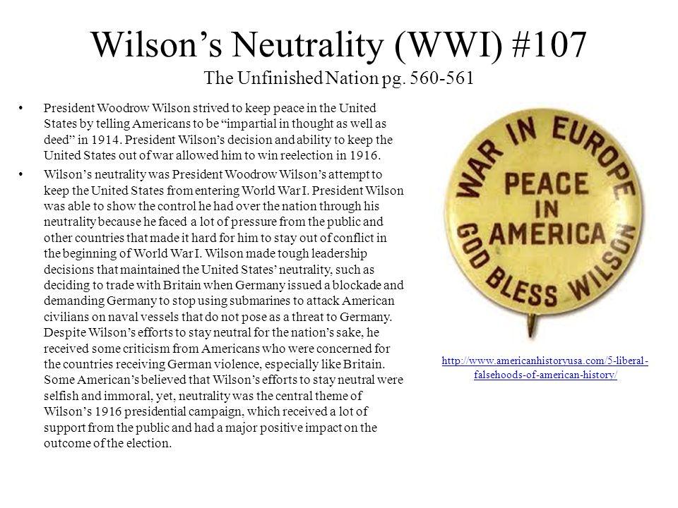 Wilson's Neutrality (WWI) #107