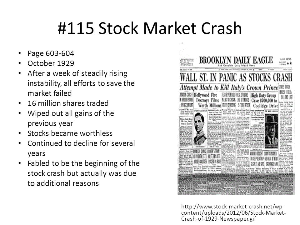 #115 Stock Market Crash Page 603-604 October 1929