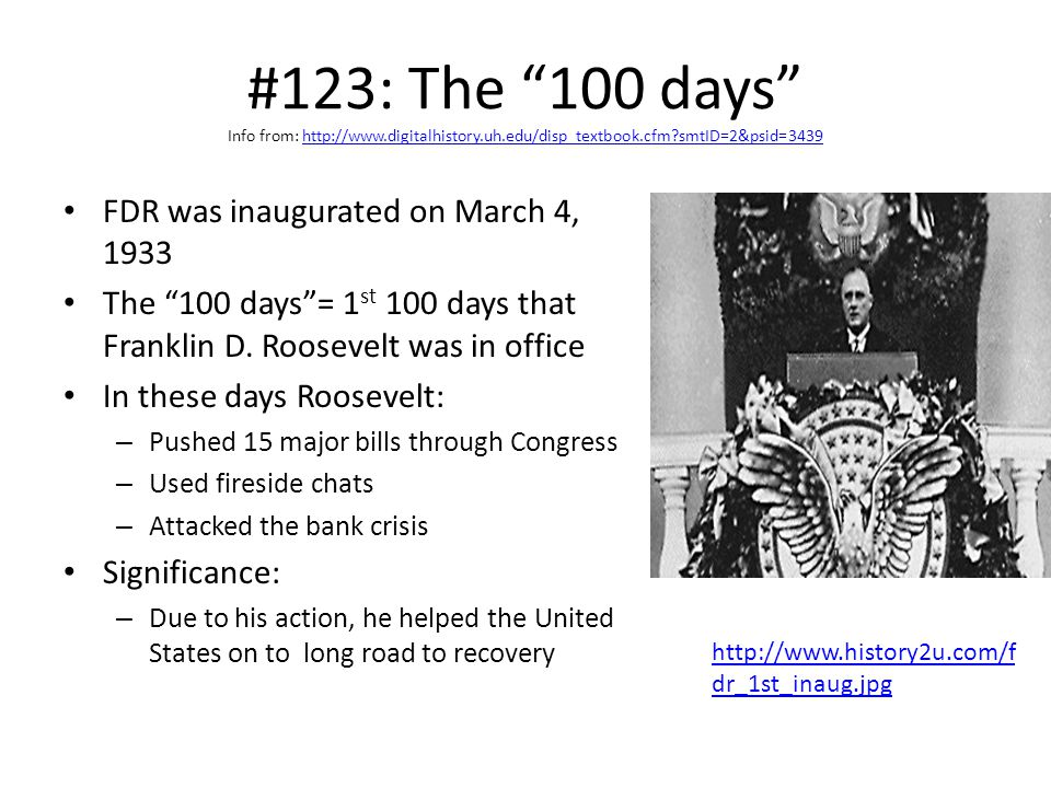 #123: The 100 days Info from: http://www. digitalhistory. uh