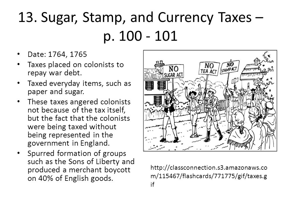 13. Sugar, Stamp, and Currency Taxes – p. 100 - 101