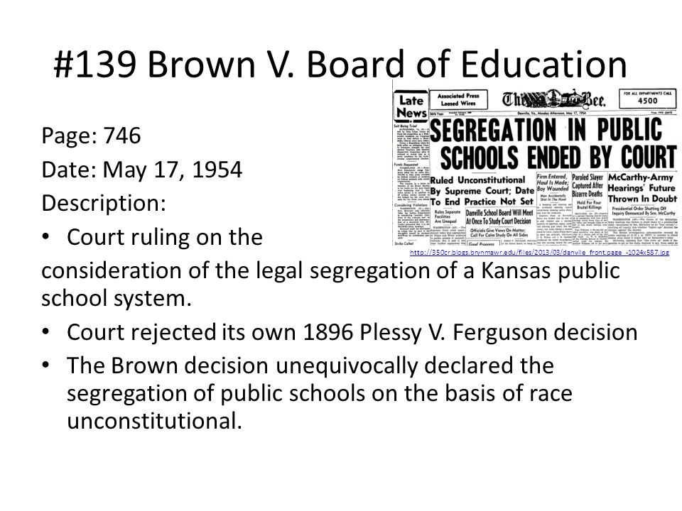 #139 Brown V. Board of Education