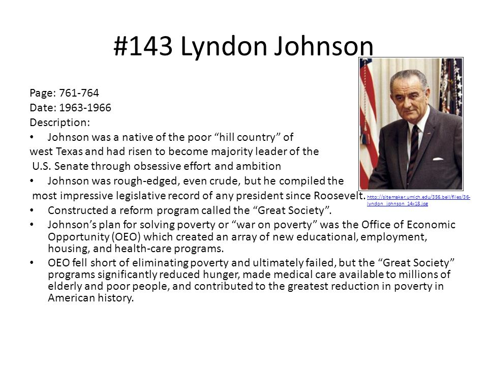 #143 Lyndon Johnson Page: 761-764 Date: 1963-1966 Description: