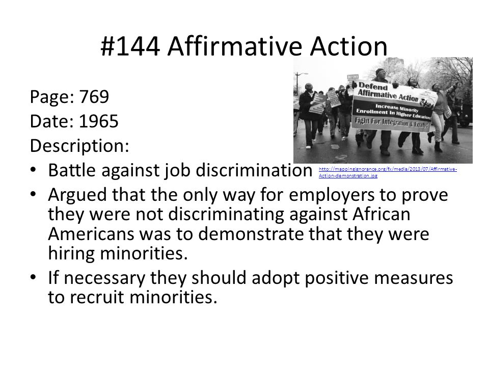 #144 Affirmative Action Page: 769 Date: 1965 Description: