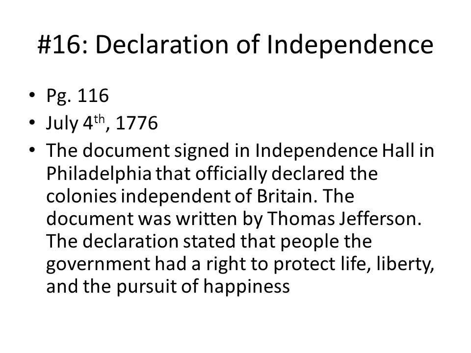 #16: Declaration of Independence