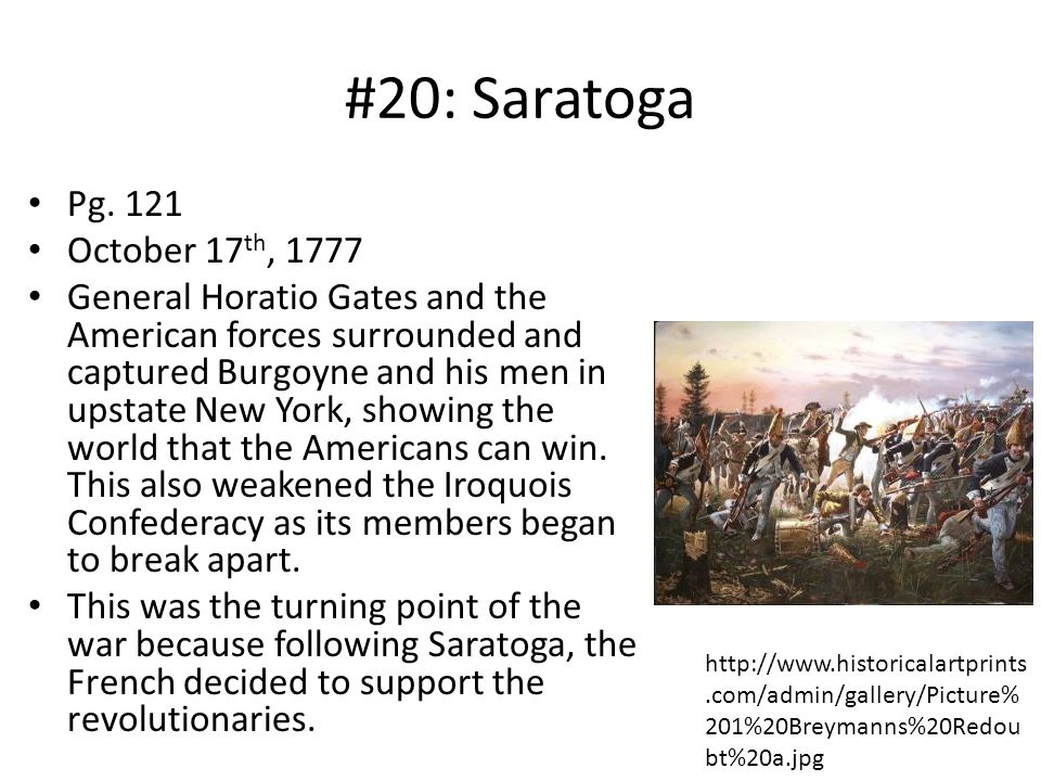 #20: Saratoga Pg. 121 October 17th, 1777