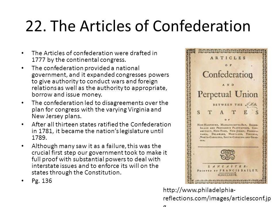 22. The Articles of Confederation