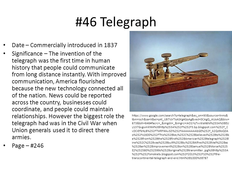 #46 Telegraph Date – Commercially introduced in 1837