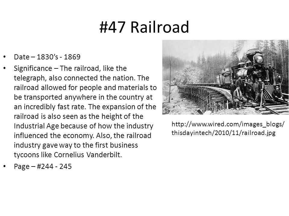 #47 Railroad Date – 1830's - 1869.