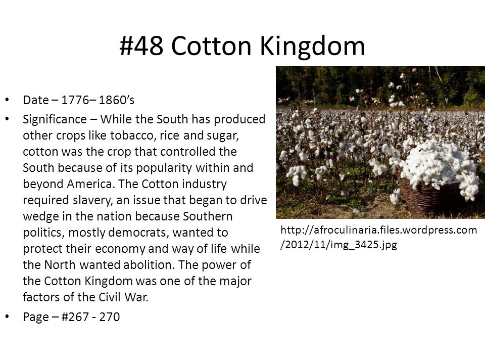 #48 Cotton Kingdom Date – 1776– 1860's