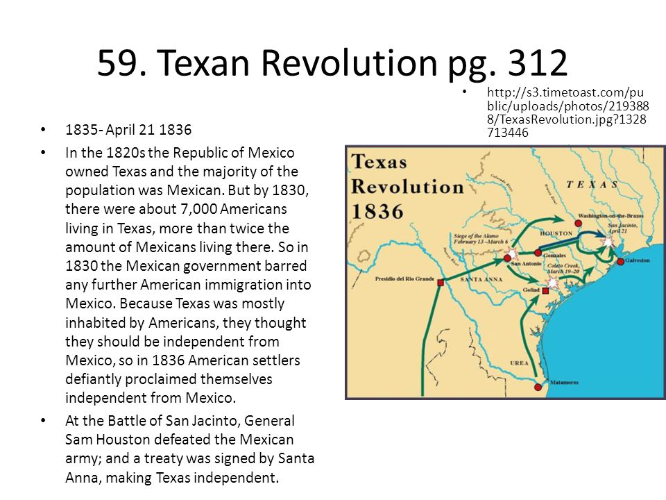 59. Texan Revolution pg. 312 1835- April 21 1836