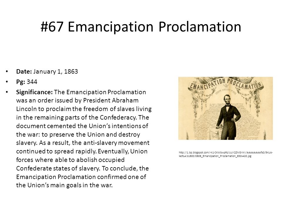 #67 Emancipation Proclamation