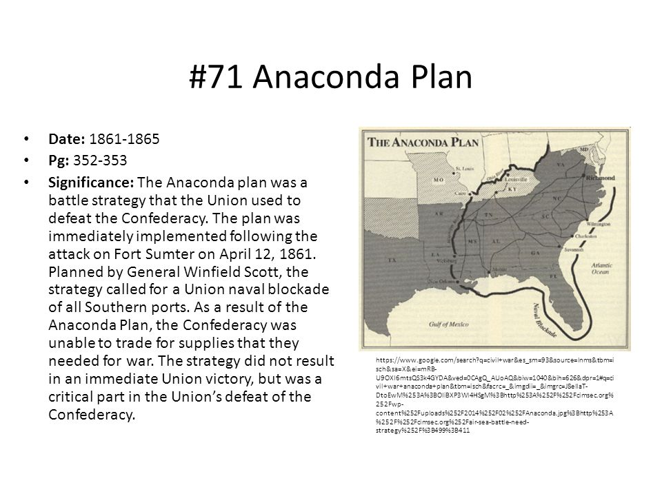 #71 Anaconda Plan Date: 1861-1865 Pg: 352-353