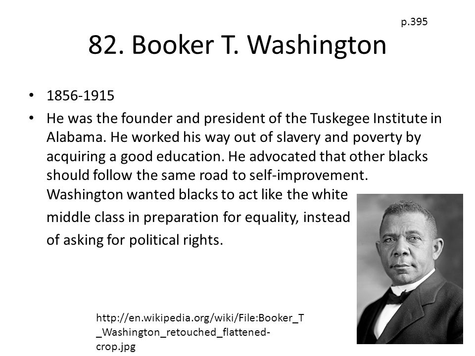82. Booker T. Washington p.395. 1856-1915.