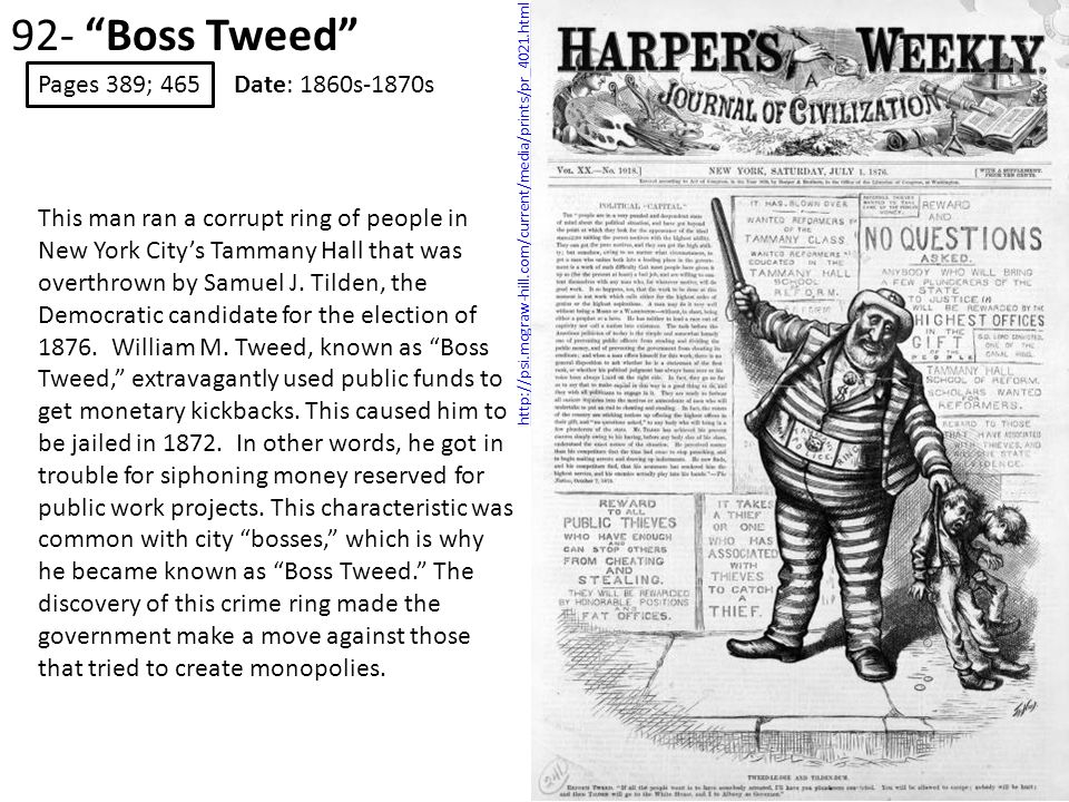92- Boss Tweed Pages 389; 465 Date: 1860s-1870s