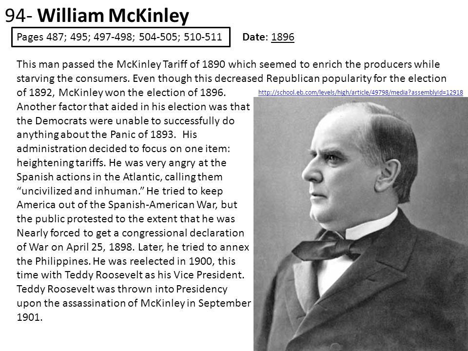 94- William McKinley Pages 487; 495; 497-498; 504-505; 510-511