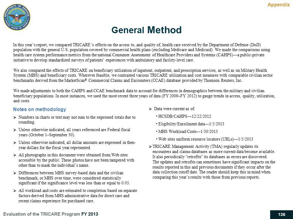 General Method Appendix Notes on methodology