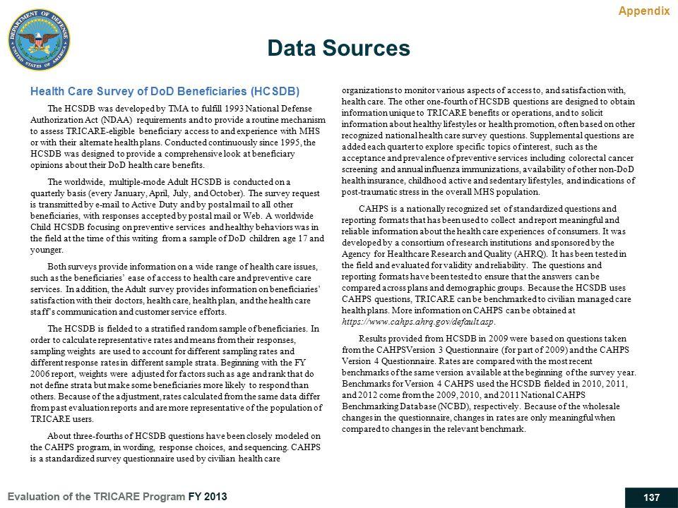 Data Sources Appendix Health Care Survey of DoD Beneficiaries (HCSDB)