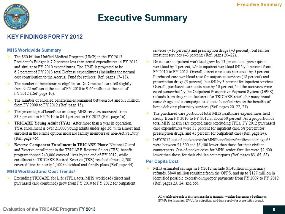 Executive Summary KEY FINDINGS FOR FY 2012 Executive Summary
