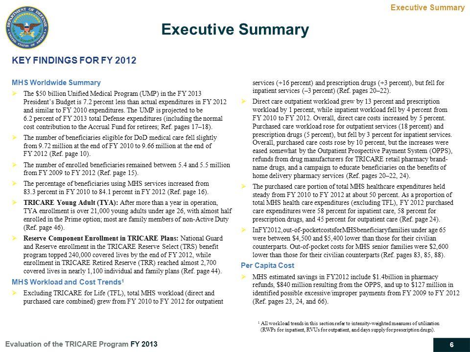 Executive Summary KEY FINDINGS FOR FY 2012 Executive Summary