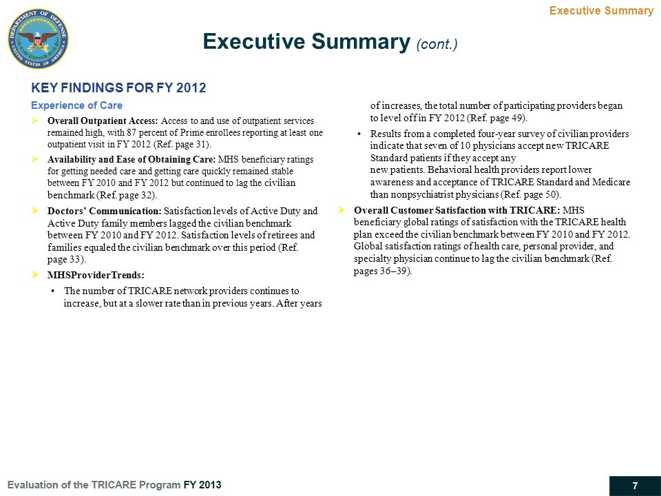 Executive Summary (cont.)